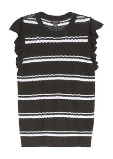 Halogen® Stripe Flutter Sleeve Pointelle Pullover