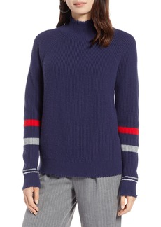 Halogen® Stripe Sleeve Frayed Edge Sweater (Regular & Petite)