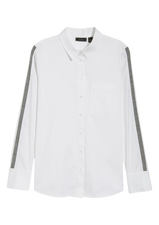 Halogen® Stripe Sleeve Shirt (Regular & Petite)