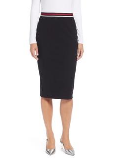 Halogen® Stripe Waist Knit Pencil Skirt (Regular & Petite)