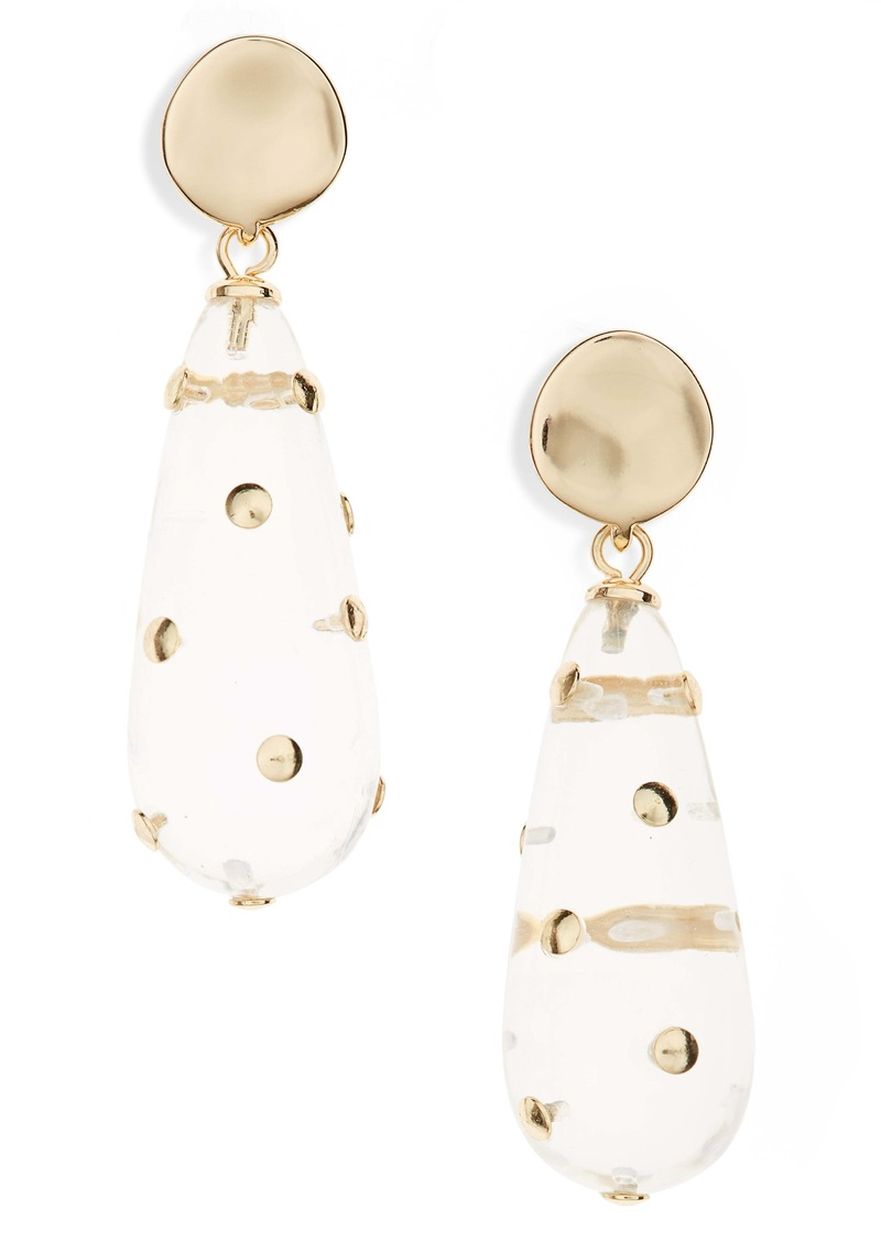 Halogen® Studded Resin Teardrop Earrings