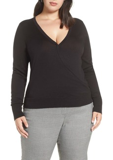 Halogen® Surplice Cotton Blend Sweater