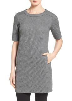 Halogen® Textured Elbow Sleeve Tunic Dress (Regular & Petite)