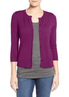 Halogen® Three Quarter Sleeve Cardigan (Regular & Petite)