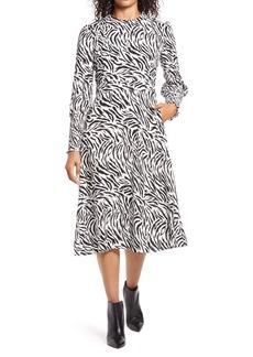 Halogen® Tie Back Long Sleeve Dress (Regular & Petite)