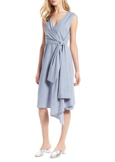 Halogen® Tie Front Chambray Linen Blend Dress (Regular & Petite)