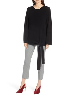 Halogen® Tie Front Pullover Sweater (Regular & Petite)