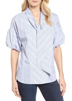 Halogen® Tie Front Short Sleeve Blouse (Regular & Petite)
