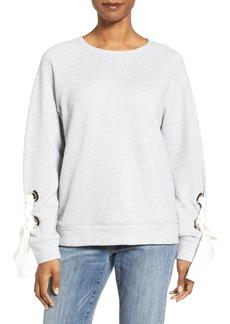 Halogen® Tie Sleeve Sweatshirt (Regular & Petite)