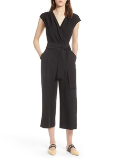 Halogen® Tie Waist Crop Jumpsuit (Regular & Petite)