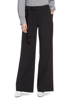 Halogen® Tie Waist Wide Leg Stretch Crepe Pants (Regular & Petite)