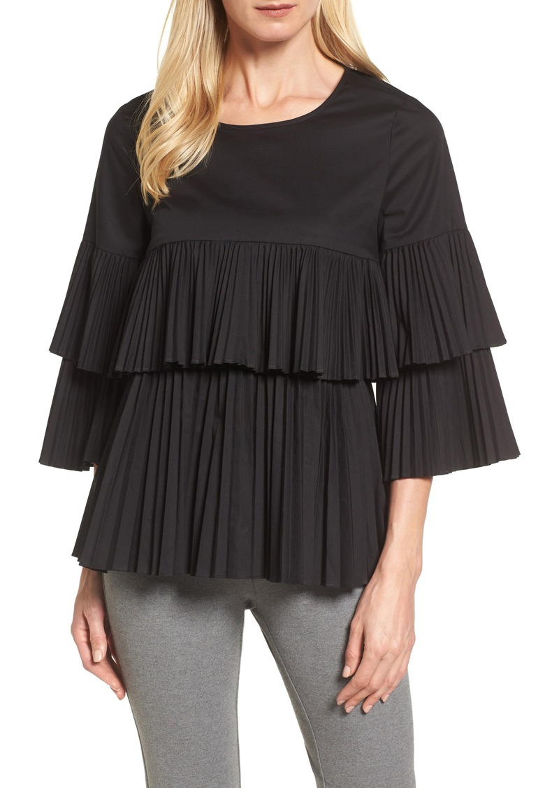 Halogen® Tiered Pleat Poplin Top