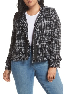 Halogen® Tweed Fringe Jacket (Plus Size)