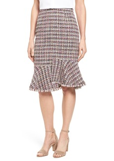 Halogen® Tweed Ruffle Hem Skirt (Regular & Petite)