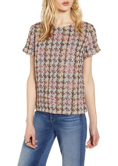 Halogen® Tweed Short Sleeve Top