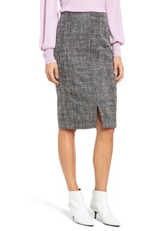 Halogen® Tweed Slit Front Pencil Skirt (Regular & Petite)