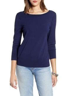 Halogen® V-Back Sweater