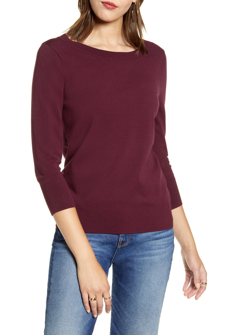 Halogen® V-Back Sweater