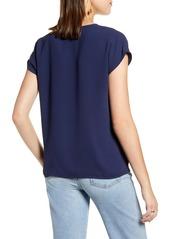Halogen® V-Neck Cap Sleeve Top