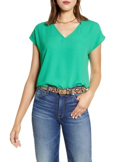 Halogen® V-Neck Cap Sleeve Top