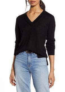 Halogen® V-Neck Merino Wool Blend Sweater
