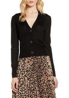 Halogen® V-Neck Merino Wool Jersey Cardigan