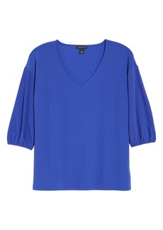 Halogen® V-Neck Puff Sleeve Knit Top
