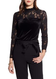 Halogen® Velvet & Lace Top