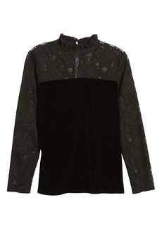 Halogen® Velvet & Lace Top