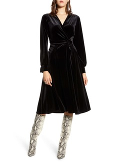 Halogen® Velvet Faux Wrap Dress