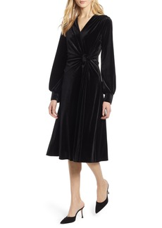 Halogen® Velvet Faux Wrap Dress (Regular & Petite)