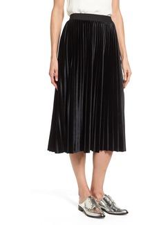 Halogen® Velvet Pleated Midi Skirt (Regular & Petite)