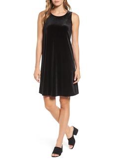 Halogen® Velvet Trapeze Dress (Regular & Petite)