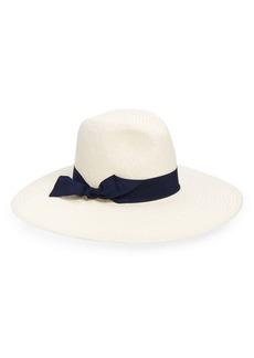 Halogen® Wide Grosgrain Band Straw Panama Hat