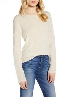 Halogen® Wool & Cashmere Button Sleeve Sweater