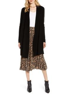 Halogen® Wool & Cashmere Drape Front Long Cardigan