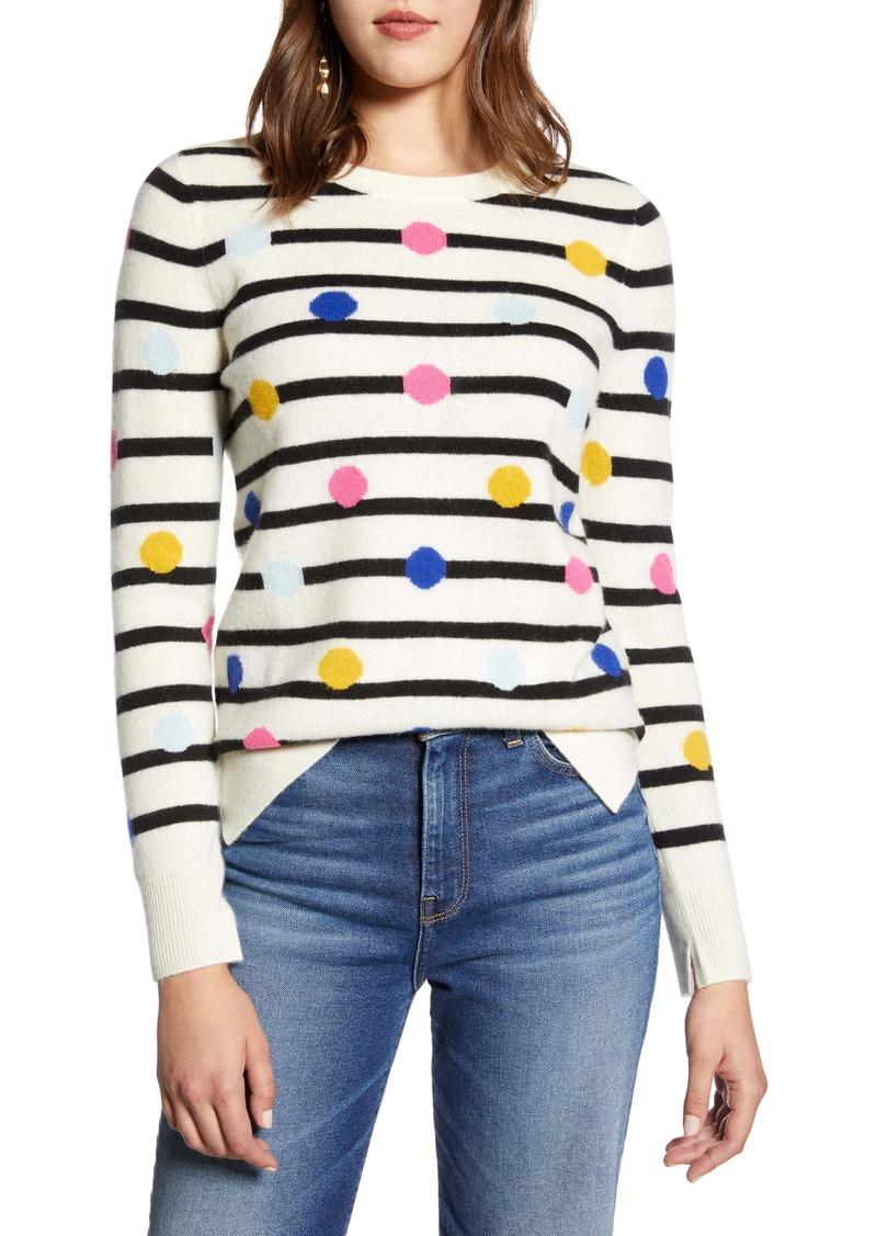 Halogen® Wool & Cashmere Intarsia Crewneck Sweater
