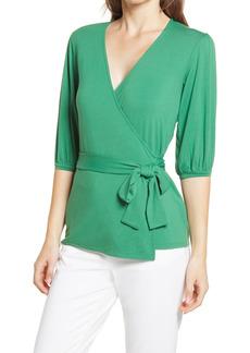 Halogen® Wrap Knit Top