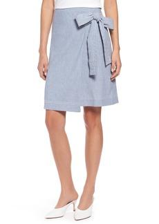 Halogen® Wrap Style Chambray Linen Blend Miniskirt (Regular & Petite)