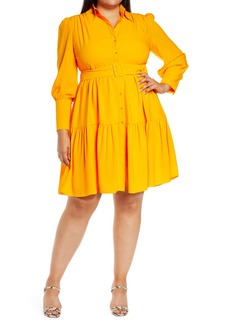 Halogen® x Atlantic-Pacific Belted Long Sleeve Shirtdress (Plus Size)