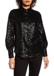 Halogen® x Atlantic-Pacific Bishop Sleeve Sequin Shirt (Nordstrom Exclusive)