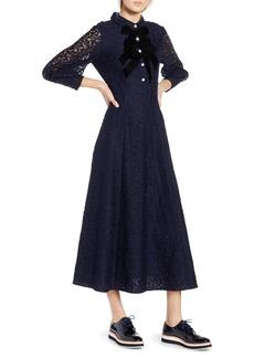 Halogen® x Atlantic-Pacific Bow Detail Lace Midi Dress