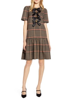 Halogen® x Atlantic-Pacific Bow Detail Plaid Dress (Nordstrom Exclusive)