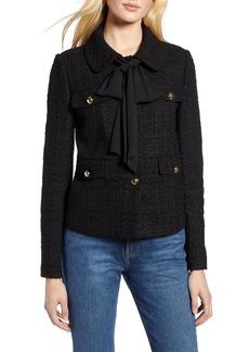 Halogen® x Atlantic-Pacific Bow Detail Tweed Jacket