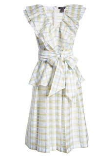 Halogen® x Atlantic-Pacific Bow Front Plaid Ruffle Dress