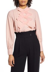 Halogen® x Atlantic-Pacific Bow Front Pleated Blouse (Nordstrom Exclusive)
