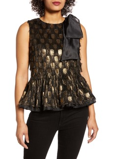 Halogen® x Atlantic-Pacific Bow Shoulder Fringe Fil Coupé Top (Nordstrom Exclusive)