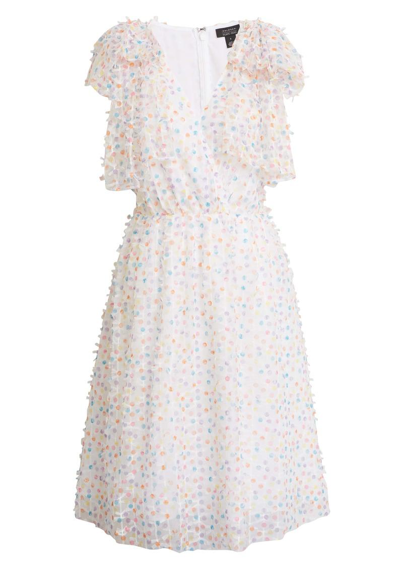 Halogen® x Atlantic-Pacific Bow Shoulder Textured Dot Dress