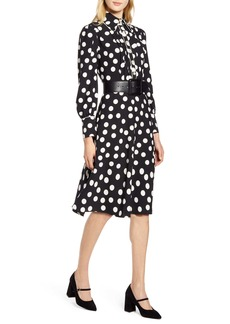 Halogen® x Atlantic-Pacific Button & Pleat Polka Dot Fit & Flare Dress (Nordstrom Exclusive)