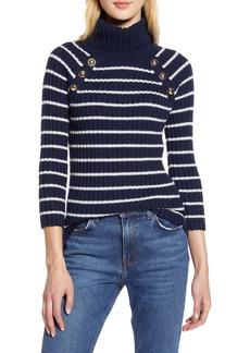 Halogen® x Atlantic-Pacific Button Detail Turtleneck Sweater (Nordstrom Exclusive)